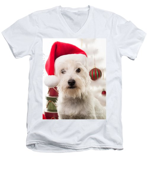 Christmas Elf Dog Men's V-Neck T-Shirt