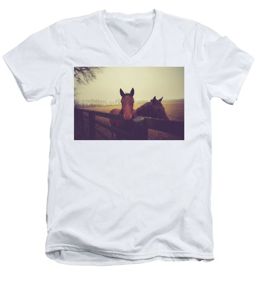 Men's V-Neck T-Shirt featuring the photograph Christmas Horses by Shane Holsclaw