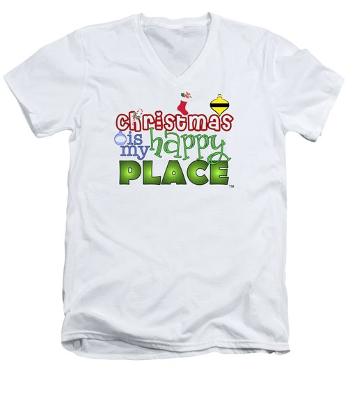Christmas Is My Happy Place Men's V-Neck T-Shirt by Shelley Overton