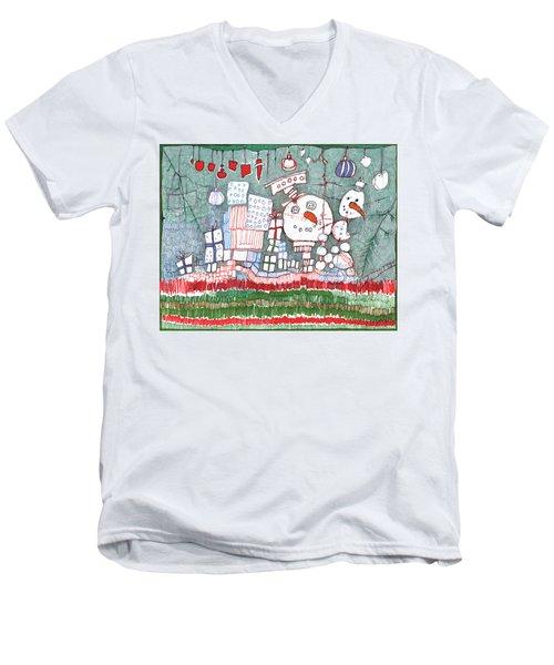 Christmas On The Edge Men's V-Neck T-Shirt by Sandra Church