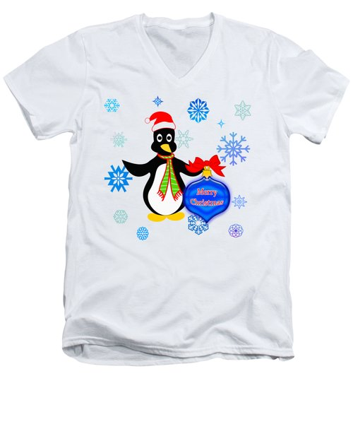 Christmas Penguin Men's V-Neck T-Shirt by Methune Hively