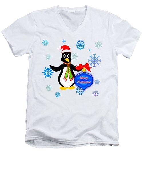 Christmas Penguin Men's V-Neck T-Shirt