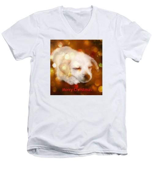 Christmas Puppy Men's V-Neck T-Shirt by Amanda Eberly-Kudamik