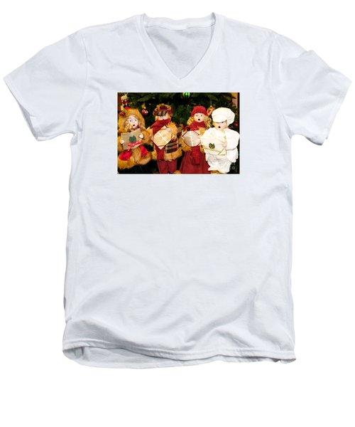 Men's V-Neck T-Shirt featuring the photograph Christmas Quartet by Vinnie Oakes