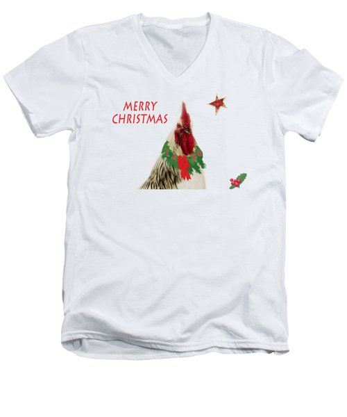 Christmas Rooster Tee-shirt Men's V-Neck T-Shirt by Donna Brown