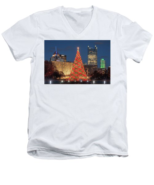 Men's V-Neck T-Shirt featuring the photograph Christmas  Season In Pittsburgh  by Emmanuel Panagiotakis