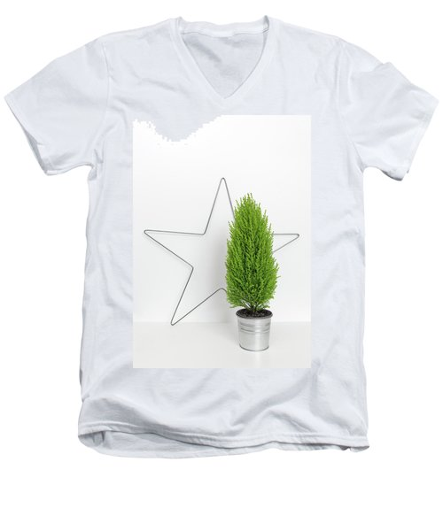 Christmas Star And Little Green Tree Men's V-Neck T-Shirt by GoodMood Art