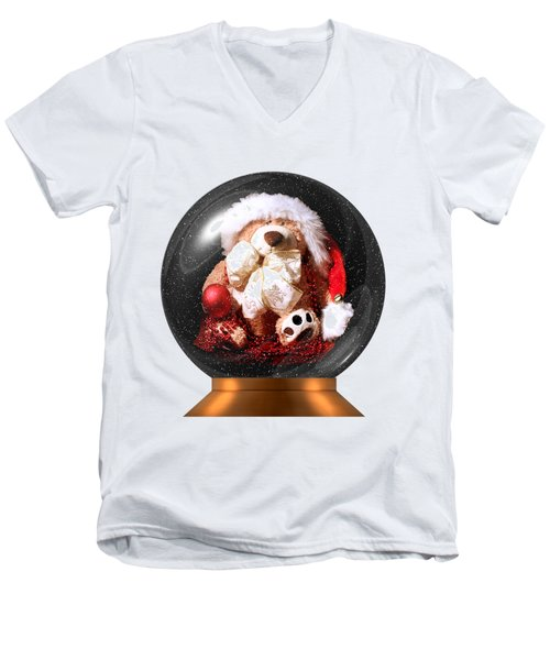 Christmas Teddy Snow Globe On A Transparent Background Men's V-Neck T-Shirt by Terri Waters