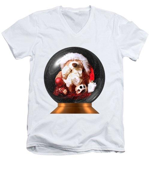 Christmas Teddy Snow Globe On A Transparent Background Men's V-Neck T-Shirt