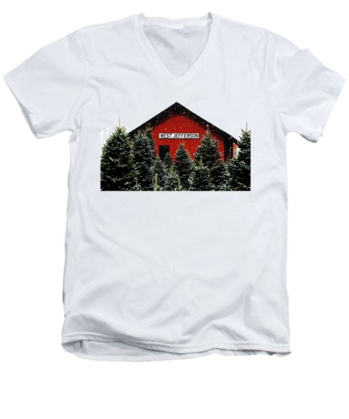 Christmas Town Men's V-Neck T-Shirt by Dale R Carlson
