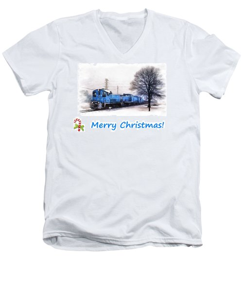 Christmas Train Men's V-Neck T-Shirt
