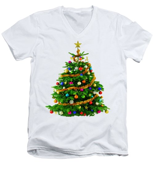 Christmas Tree 1417 Men's V-Neck T-Shirt