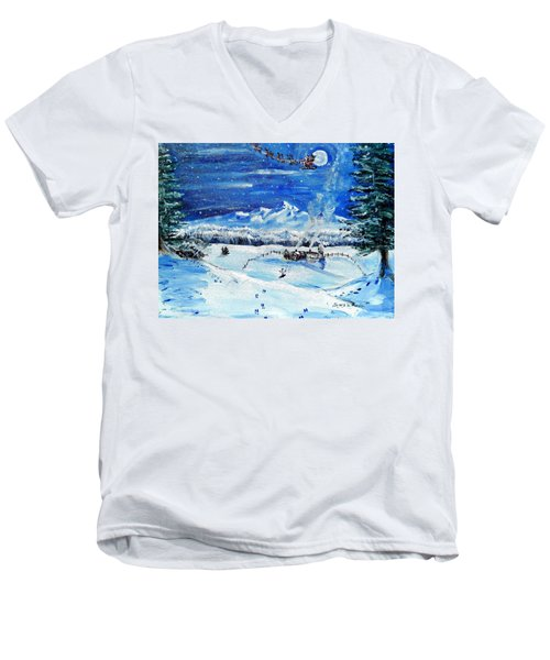Men's V-Neck T-Shirt featuring the painting Christmas Wonderland by Shana Rowe Jackson