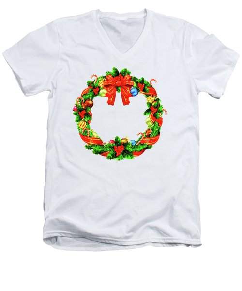 Christmas Wreath Men's V-Neck T-Shirt