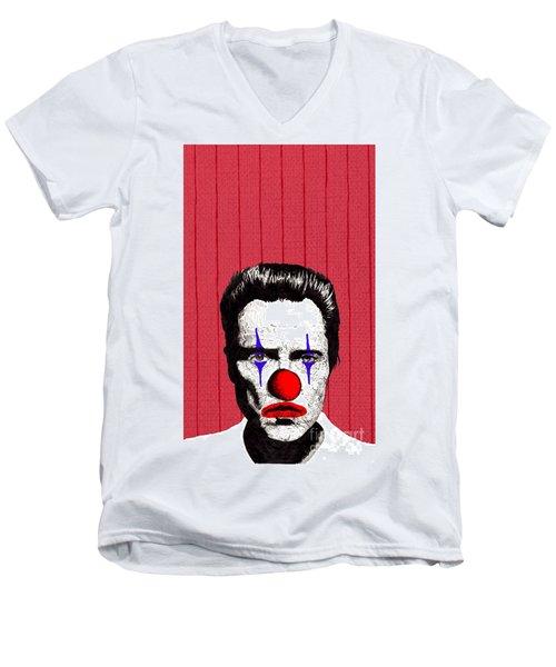 Men's V-Neck T-Shirt featuring the drawing Christopher Walken 2 by Jason Tricktop Matthews