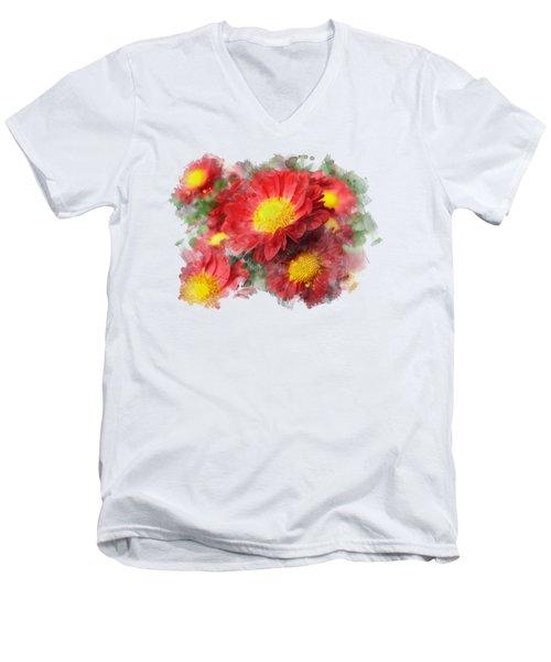 Chrysanthemum Watercolor Art Men's V-Neck T-Shirt by Christina Rollo
