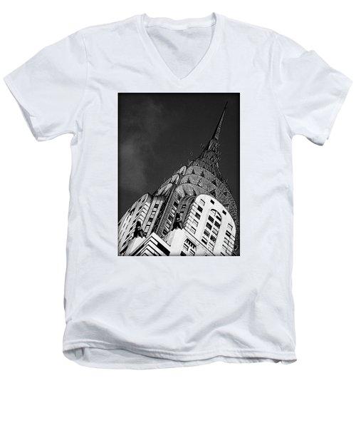 Chrysler Building's Apex Men's V-Neck T-Shirt by James Aiken