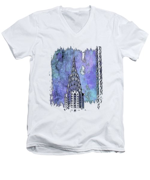 Chrysler Spire Berry Blues 3 Dimensional Men's V-Neck T-Shirt by Di Designs