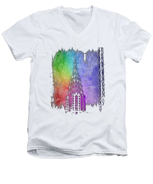 Chrysler Spire Cool Rainbow 3 Dimensional Men's V-Neck T-Shirt by Di Designs