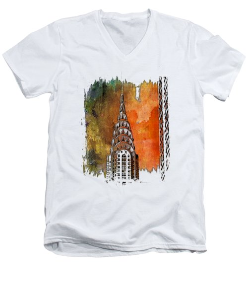 Chrysler Spire Earthy Rainbow 3 Dimensional Men's V-Neck T-Shirt by Di Designs
