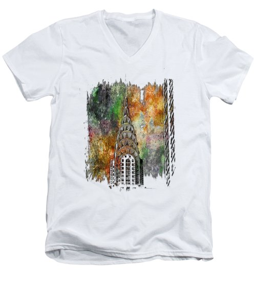 Chrysler Spire Muted Rainbow 3 Dimensional Men's V-Neck T-Shirt by Di Designs