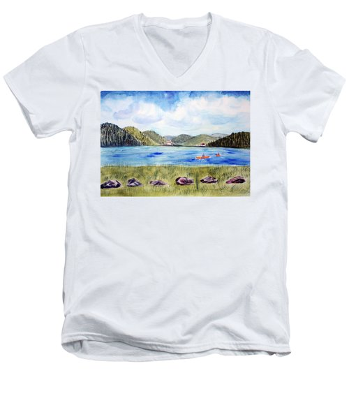 Men's V-Neck T-Shirt featuring the painting Chrystal Lake  Barton Vt  by Donna Walsh