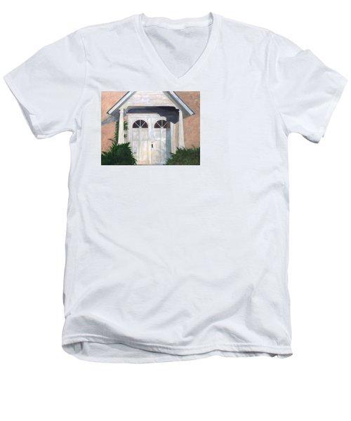 Church Doors Men's V-Neck T-Shirt by T Fry-Green