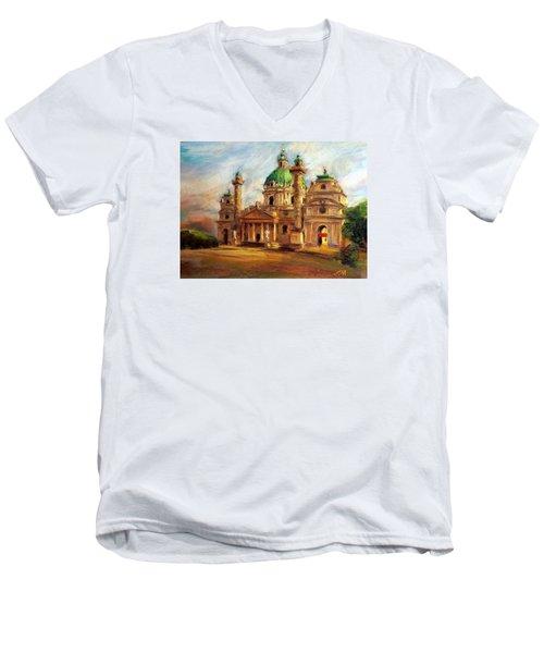Church Men's V-Neck T-Shirt by Jieming Wang