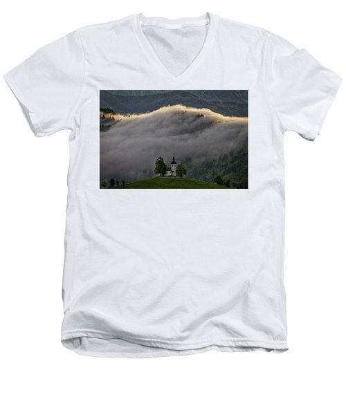 Men's V-Neck T-Shirt featuring the photograph Church Of St. Thomas - Slovenia by Stuart Litoff