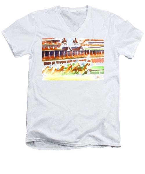 Churchill Downs Watercolor Men's V-Neck T-Shirt