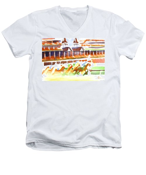 Churchill Downs Watercolor Men's V-Neck T-Shirt
