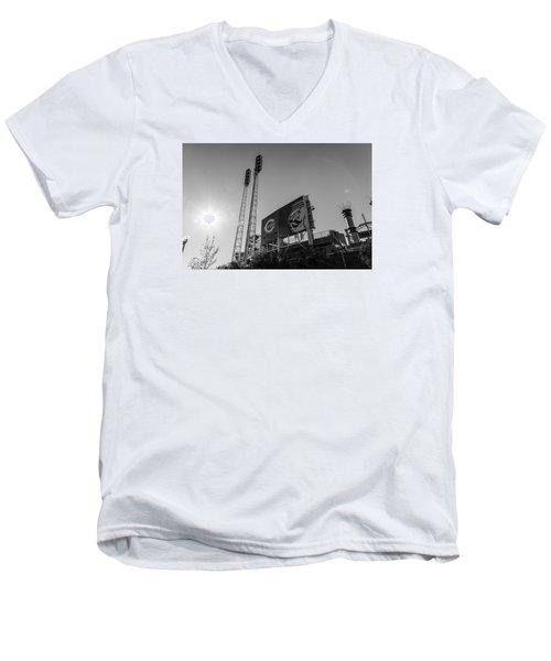 Cincinnati Reds Riverfront Stadium Black And White  Men's V-Neck T-Shirt by John McGraw