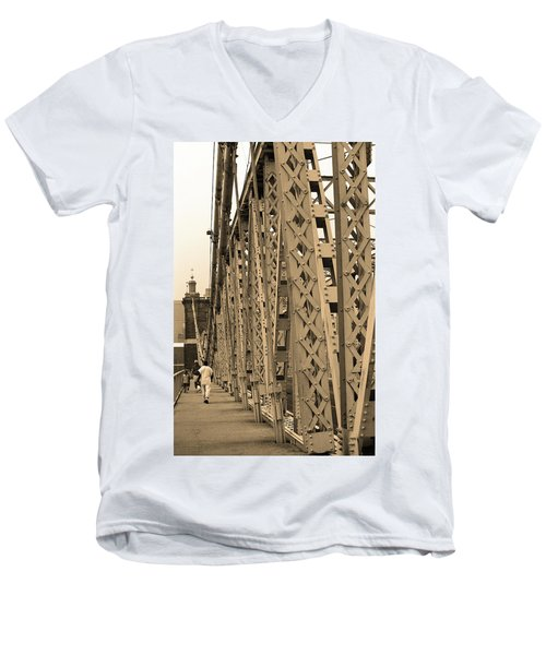 Cincinnati - Roebling Bridge 3 Sepia Men's V-Neck T-Shirt by Frank Romeo