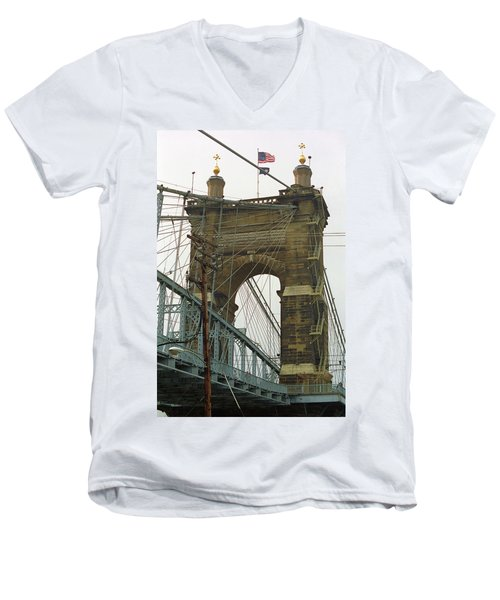 Cincinnati - Roebling Bridge 4 Men's V-Neck T-Shirt by Frank Romeo