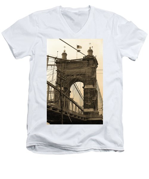 Cincinnati - Roebling Bridge 4 Sepia Men's V-Neck T-Shirt by Frank Romeo