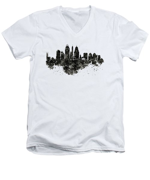 Men's V-Neck T-Shirt featuring the mixed media Cincinnati Skyline Black And White by Marian Voicu