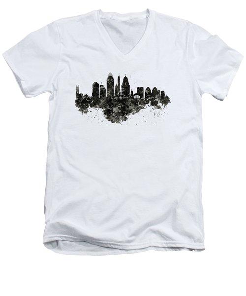 Cincinnati Skyline Black And White Men's V-Neck T-Shirt
