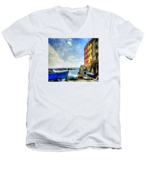 Cinque Terre - Little Port Of Riomaggiore - Vintage Version Men's V-Neck T-Shirt