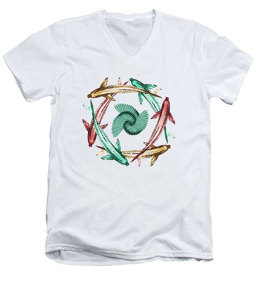 Circle Men's V-Neck T-Shirt by Deborah Smith