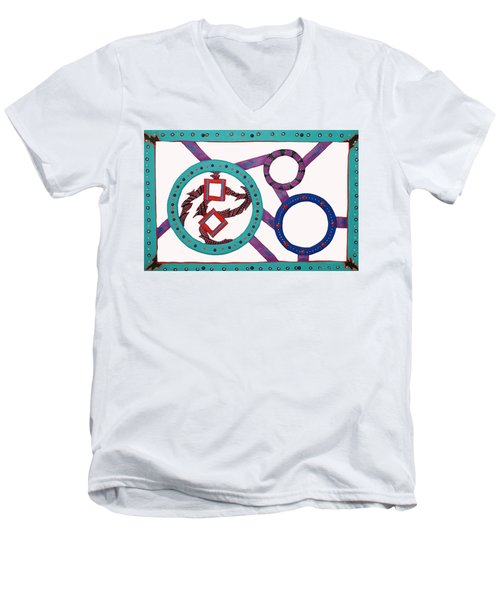 Men's V-Neck T-Shirt featuring the mixed media Circle Time by Robert Margetts