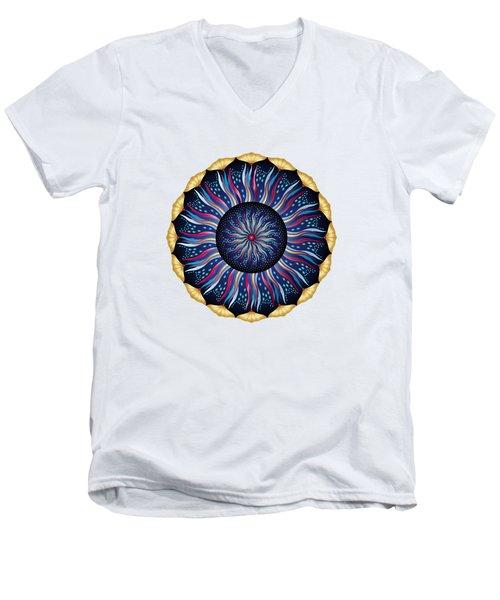 Men's V-Neck T-Shirt featuring the digital art Circularium No 2633 by Alan Bennington