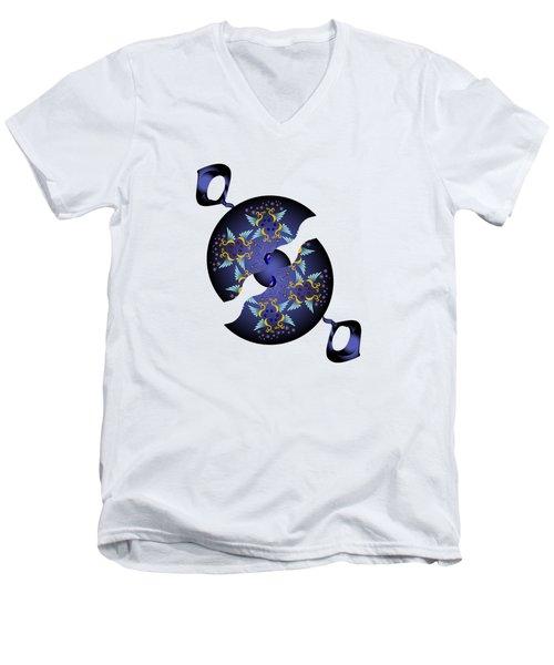 Men's V-Neck T-Shirt featuring the digital art Circularium No 2634 by Alan Bennington