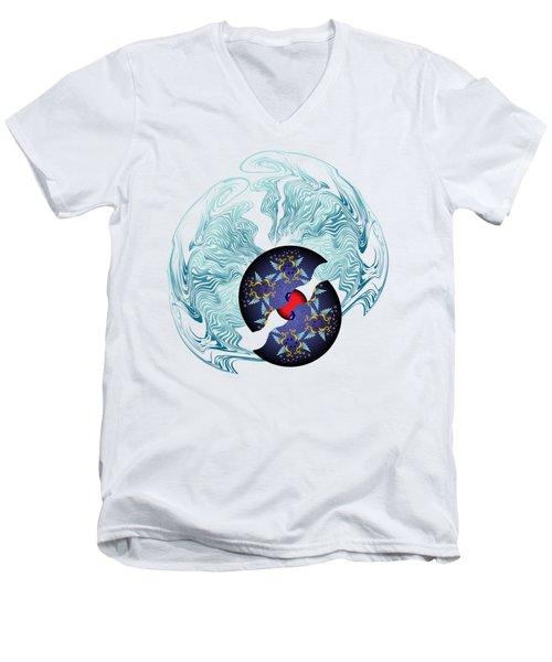 Men's V-Neck T-Shirt featuring the digital art Circularium No 2635 by Alan Bennington