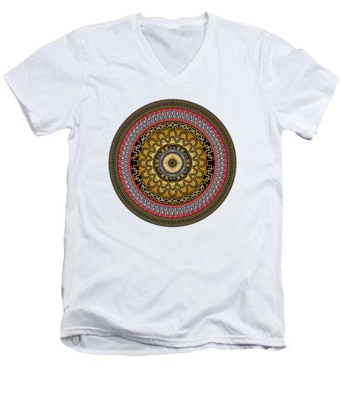 Men's V-Neck T-Shirt featuring the digital art Circularium No. 2644 by Alan Bennington