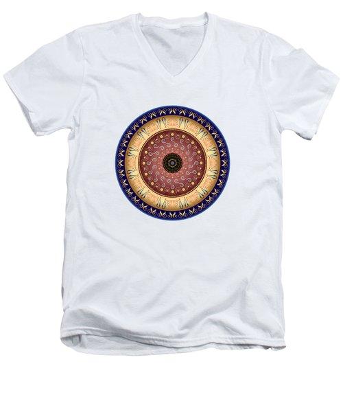 Men's V-Neck T-Shirt featuring the digital art Circularium No 2647 by Alan Bennington