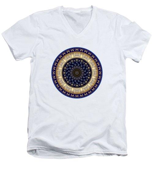 Men's V-Neck T-Shirt featuring the digital art Circularium No 2648 by Alan Bennington