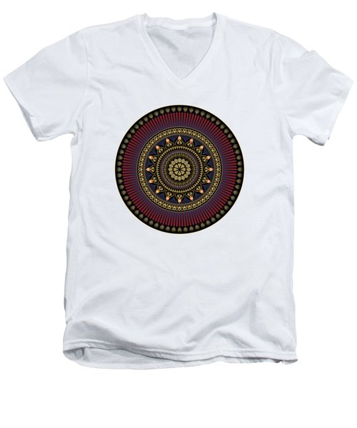 Men's V-Neck T-Shirt featuring the digital art Circularium No 2650 by Alan Bennington