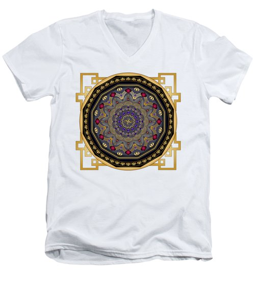 Men's V-Neck T-Shirt featuring the digital art Circularium No 2652 by Alan Bennington