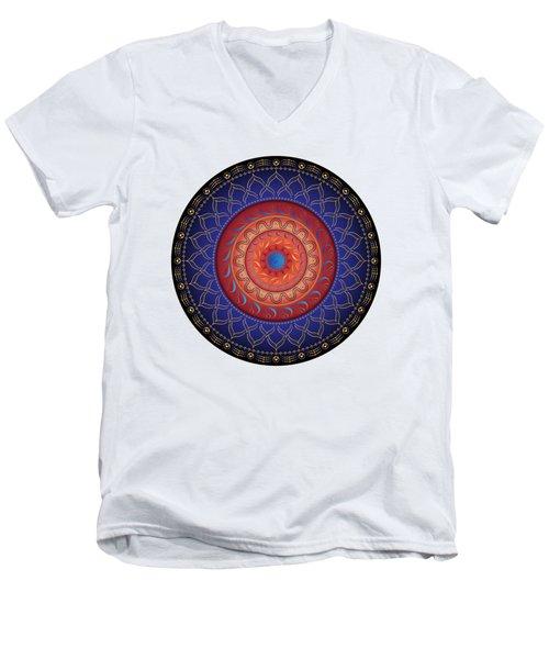 Men's V-Neck T-Shirt featuring the digital art Circularium No 2654 by Alan Bennington