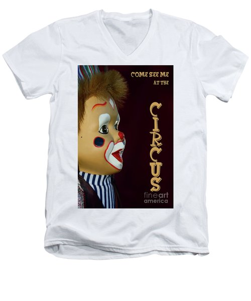 Men's V-Neck T-Shirt featuring the photograph Circus Clown By Kaye Menner by Kaye Menner
